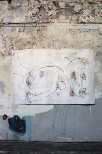 serie feos sucios y malos. bebote borracho. 178cm x 114cm tecnica mixta sobre papel 2007 precio 950