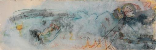 serie feos sucios y malos. en las nubes no hay dios. 127cm x 39cm tecnica mixta sobre papel 2007 precio 1100