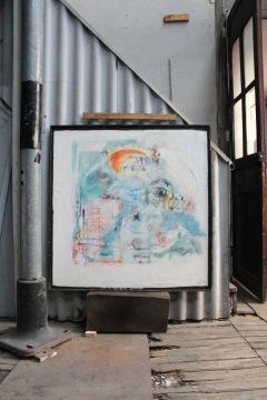serie mi. asomandose. 120cm x 120cm tecnica mixta sobre papel enmarcado 2010 precio 1850