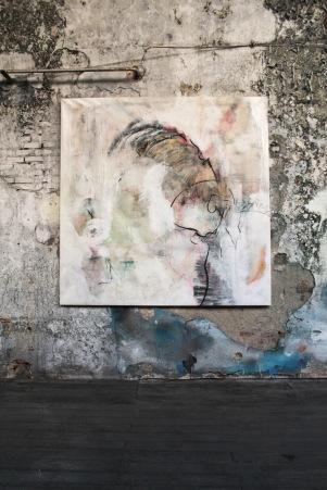 serie muros de ciudad. el niño oculto. 153cm x 153cm tecnica mixta sobre lienzo 2012 precio 2000