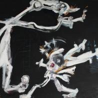 serie orquidea. fuego porfavor. 153cm x 146cm tecnica mixta sobre madera 2008 precio 2500