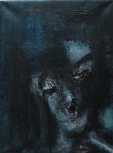 serie rostros de la oscuridad. ...de muy lejos. 40cmx55cm acrilico sobre lienzo 2002 precio850