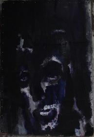 serie rostros de la oscuridad. soledad. 110cmx60cm acrìlico sobre carton 2002 coleccion privada marques de lavapies