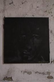 serie rostros de la oscuridad. sorprendido... 61cm x 61cm acrilico sobre lienzo 2002 precio 500