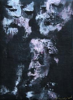 serie rostros de la oscuridad. visitantes. 55cm x 40cm acrilico sobre lienzo 2003 precio 1100