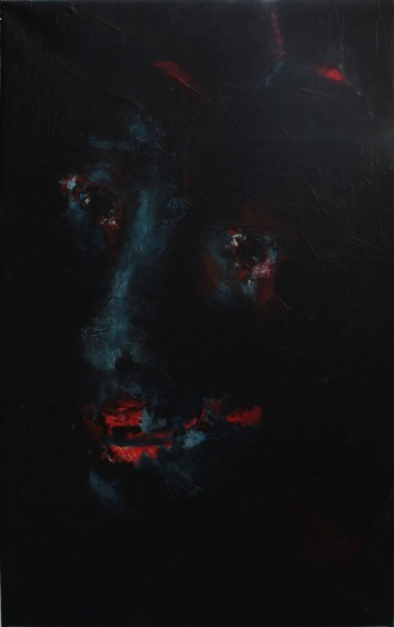 serie rostros de la oscuriddad. tristeza. 92cmx57cm acrilico sobre lienzo 2001 coleccion neo