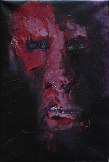 series rostros de la oscuridad. me miras. 35cmx55cm acrilico sobre lienzo 2002 precio850